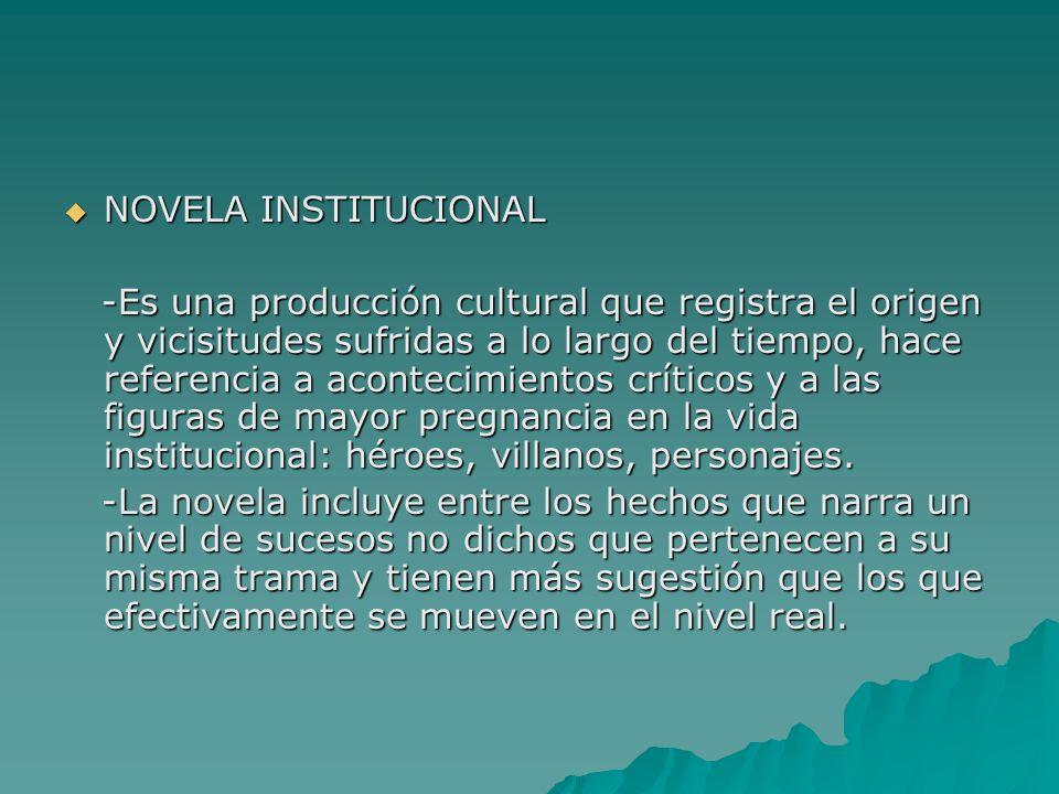 NOVELA INSTITUCIONAL NOVELA INSTITUCIONAL -Es una producción cultural que registra el origen y vicisitudes sufridas a lo largo del tiempo, hace refere