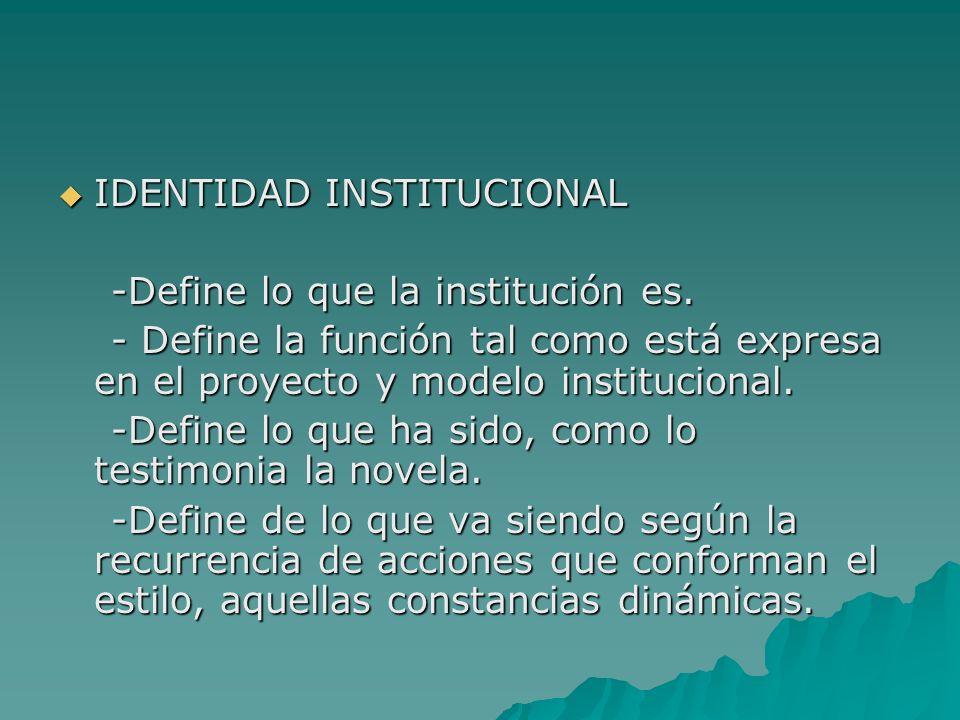 IDENTIDAD INSTITUCIONAL IDENTIDAD INSTITUCIONAL -Define lo que la institución es. -Define lo que la institución es. - Define la función tal como está