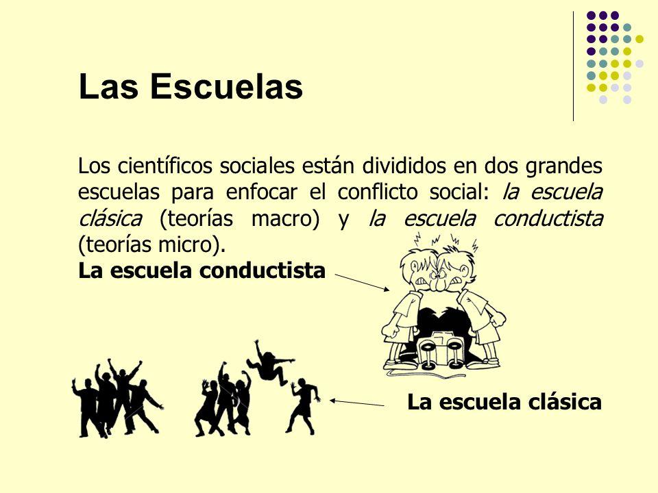 Las Escuelas Los científicos sociales están divididos en dos grandes escuelas para enfocar el conflicto social: la escuela clásica (teorías macro) y l