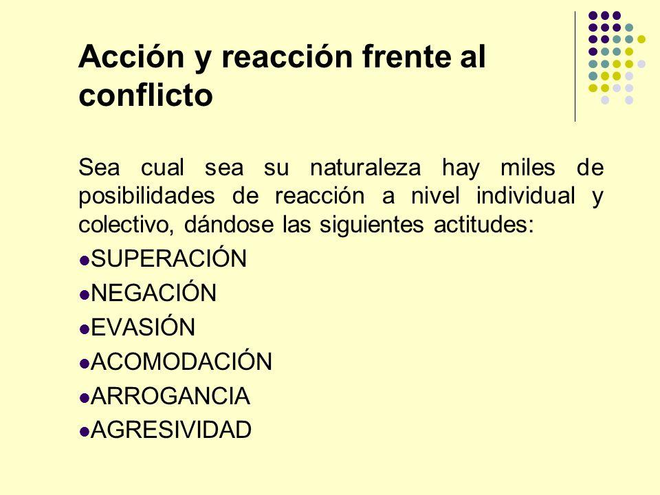 Acción y reacción frente al conflicto Sea cual sea su naturaleza hay miles de posibilidades de reacción a nivel individual y colectivo, dándose las si