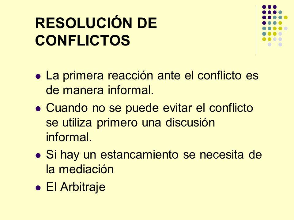 RESOLUCIÓN DE CONFLICTOS La primera reacción ante el conflicto es de manera informal. Cuando no se puede evitar el conflicto se utiliza primero una di