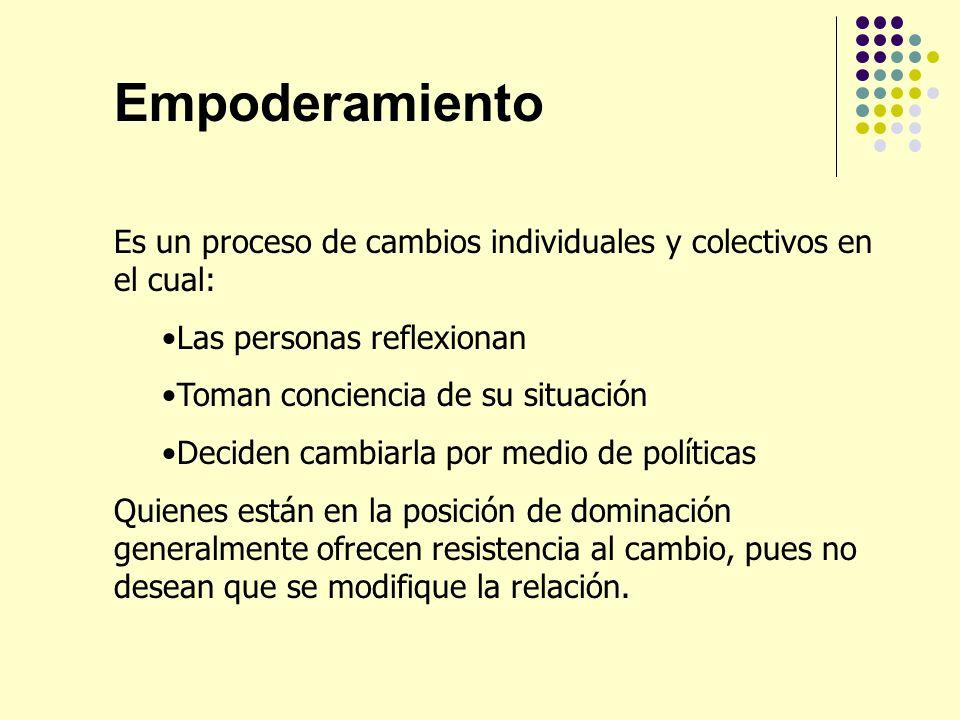 Empoderamiento Es un proceso de cambios individuales y colectivos en el cual: Las personas reflexionan Toman conciencia de su situación Deciden cambia