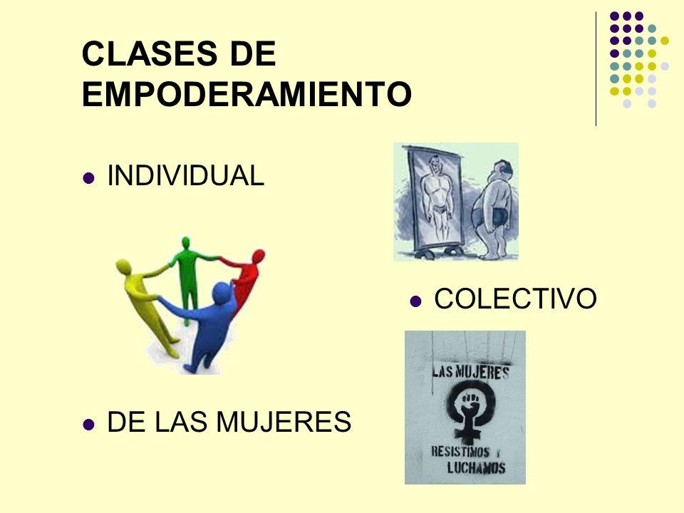 CLASES DE EMPODERAMIENTO INDIVIDUAL COLECTIVO DE LAS MUJERES