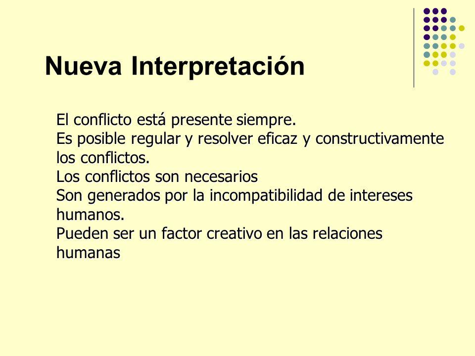 Nueva Interpretación El conflicto está presente siempre. Es posible regular y resolver eficaz y constructivamente los conflictos. Los conflictos son n