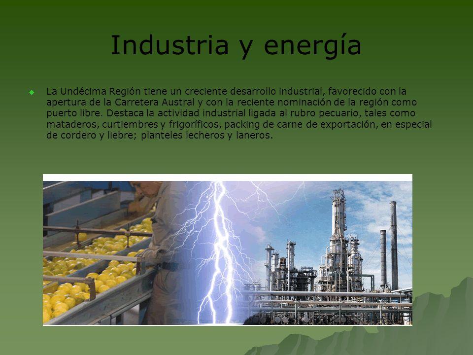 Industria y energía La Undécima Región tiene un creciente desarrollo industrial, favorecido con la apertura de la Carretera Austral y con la reciente