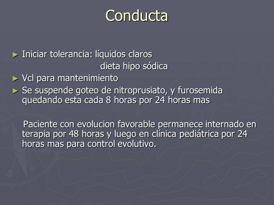 Conducta Iniciar tolerancia: líquidos claros Iniciar tolerancia: líquidos claros dieta hipo sódica dieta hipo sódica Vcl para mantenimiento Vcl para m