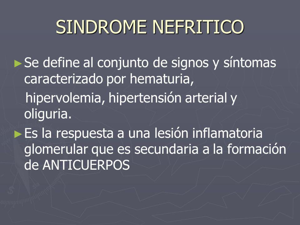 SINDROME NEFRITICO Se define al conjunto de signos y síntomas caracterizado por hematuria, hipervolemia, hipertensión arterial y oliguria. Es la respu