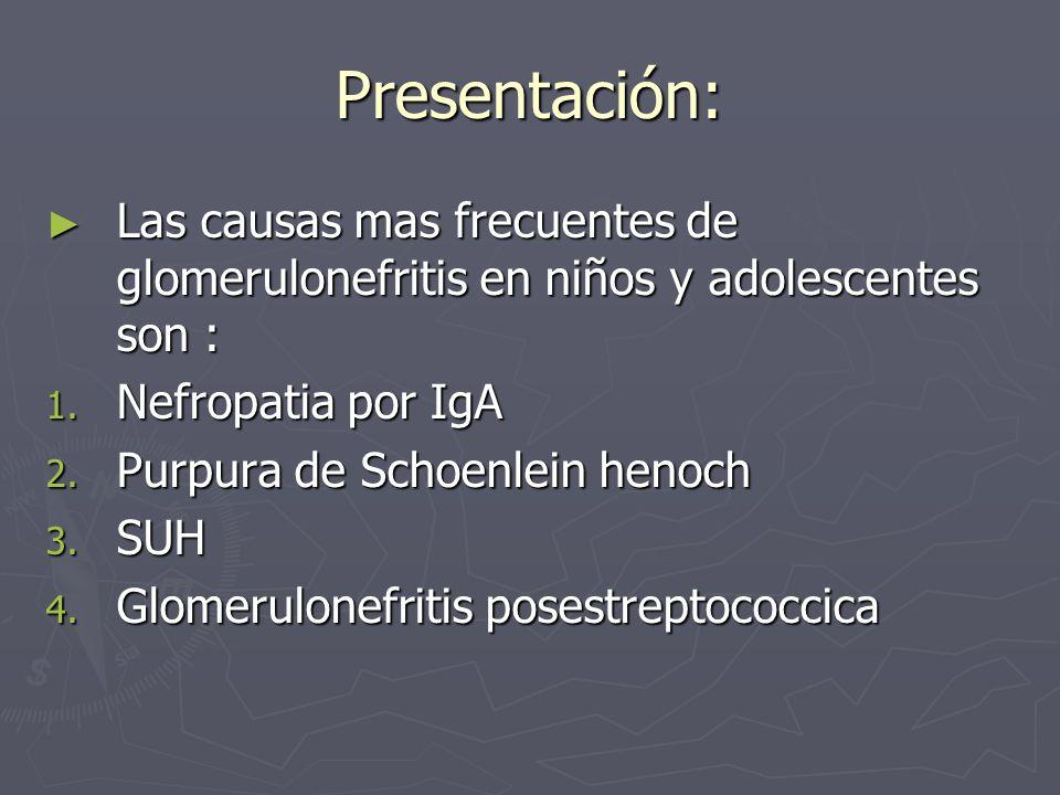 Presentación: Las causas mas frecuentes de glomerulonefritis en niños y adolescentes son : Las causas mas frecuentes de glomerulonefritis en niños y a