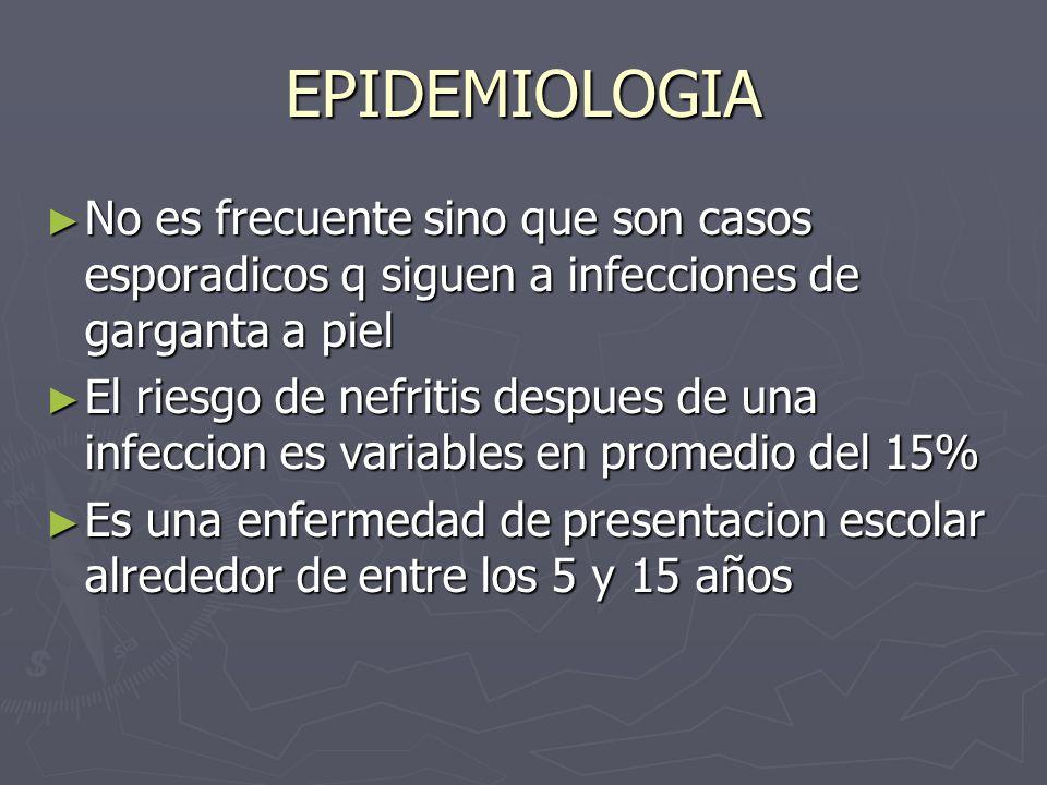 EPIDEMIOLOGIA No es frecuente sino que son casos esporadicos q siguen a infecciones de garganta a piel No es frecuente sino que son casos esporadicos
