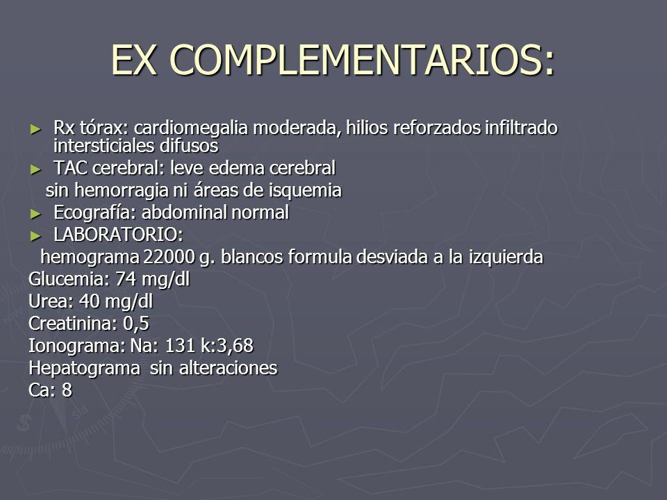 EX COMPLEMENTARIOS: Rx tórax: cardiomegalia moderada, hilios reforzados infiltrado intersticiales difusos Rx tórax: cardiomegalia moderada, hilios ref