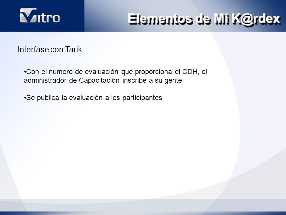Elementos de Mi K@rdex Interfase con Tarik Con el numero de evaluación que proporciona el CDH, el administrador de Capacitación inscribe a su gente.