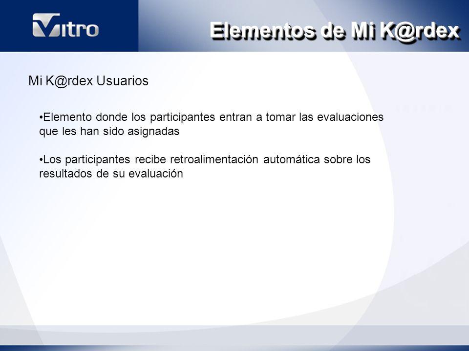 Elementos de Mi K@rdex Mi K@rdex Usuarios Elemento donde los participantes entran a tomar las evaluaciones que les han sido asignadas Los participantes recibe retroalimentación automática sobre los resultados de su evaluación