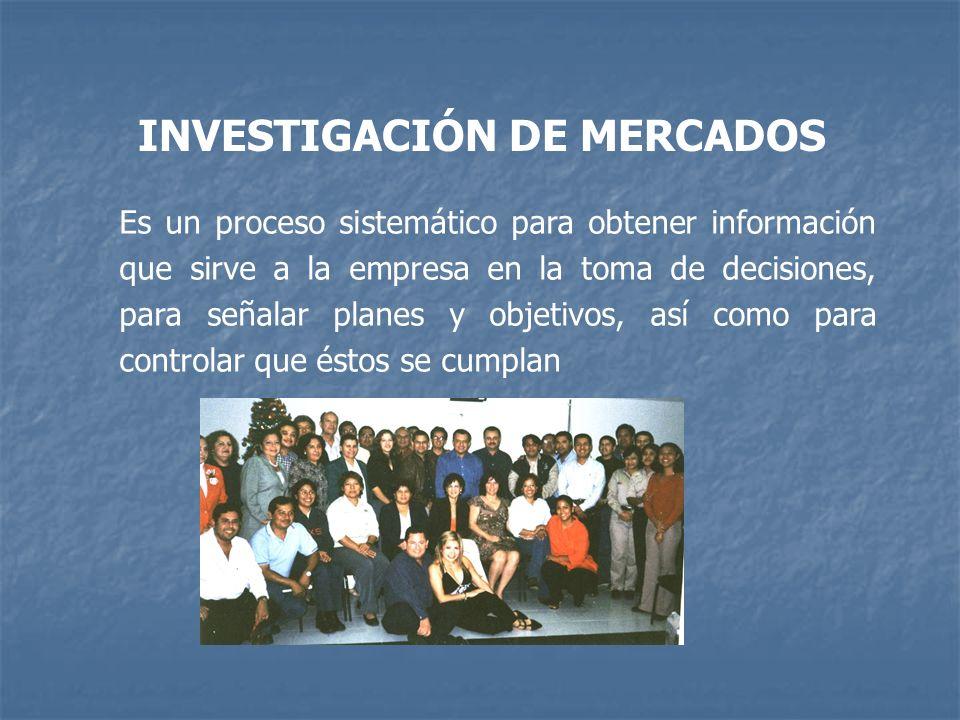 INVESTIGACIÓN DE MERCADOS Es un proceso sistemático para obtener información que sirve a la empresa en la toma de decisiones, para señalar planes y ob