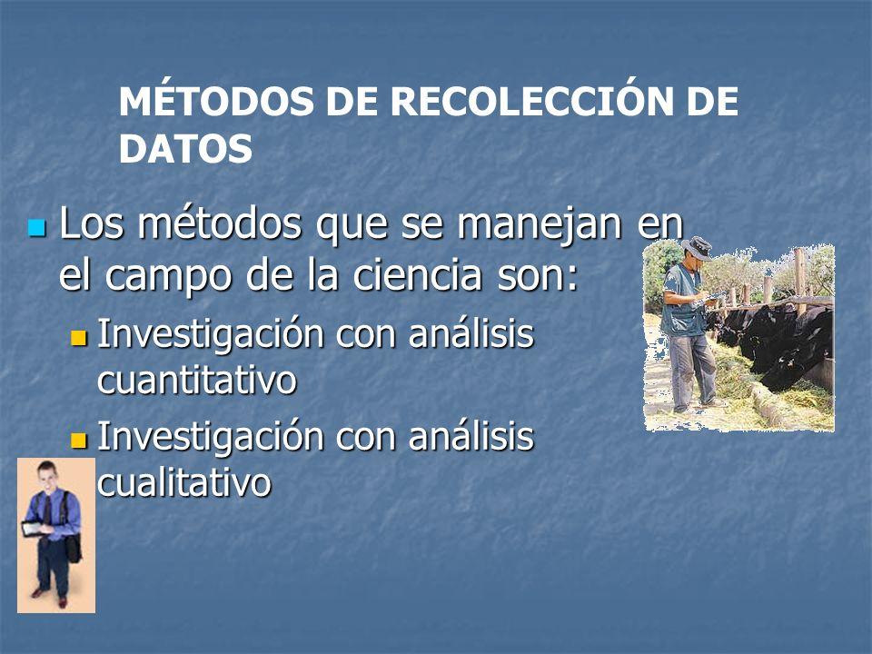 MÉTODOS DE RECOLECCIÓN DE DATOS Los métodos que se manejan en el campo de la ciencia son: Los métodos que se manejan en el campo de la ciencia son: In