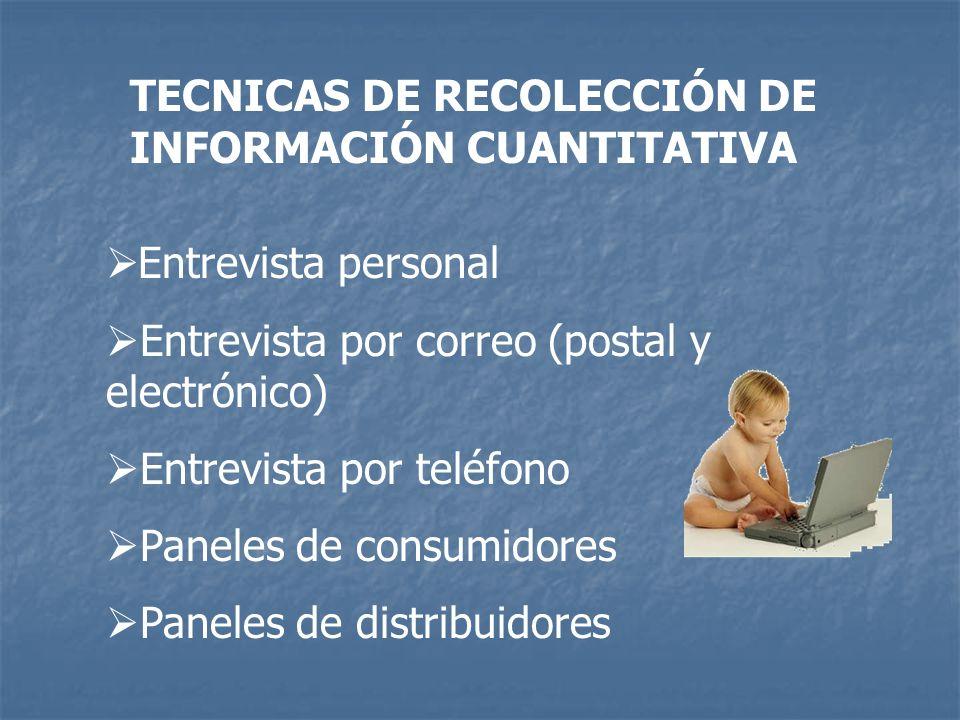 TECNICAS DE RECOLECCIÓN DE INFORMACIÓN CUANTITATIVA Entrevista personal Entrevista por correo (postal y electrónico) Entrevista por teléfono Paneles d