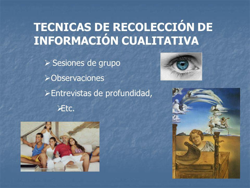 TECNICAS DE RECOLECCIÓN DE INFORMACIÓN CUALITATIVA Sesiones de grupo Observaciones Entrevistas de profundidad, Etc.