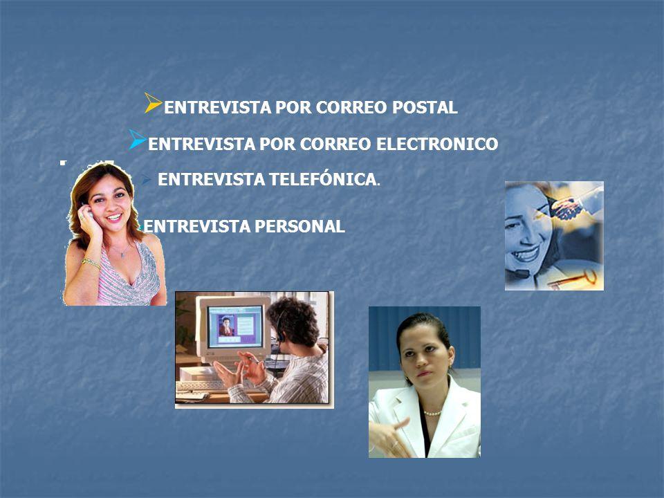ENTREVISTA POR CORREO POSTAL ENTREVISTA POR CORREO ELECTRONICO ENTREVISTA TELEFÓNICA. ENTREVISTA PERSONAL