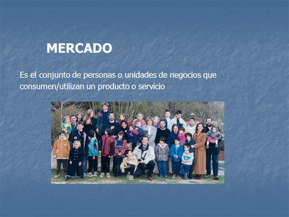 MERCADO Es el conjunto de personas o unidades de negocios que consumen/utilizan un producto o servicio