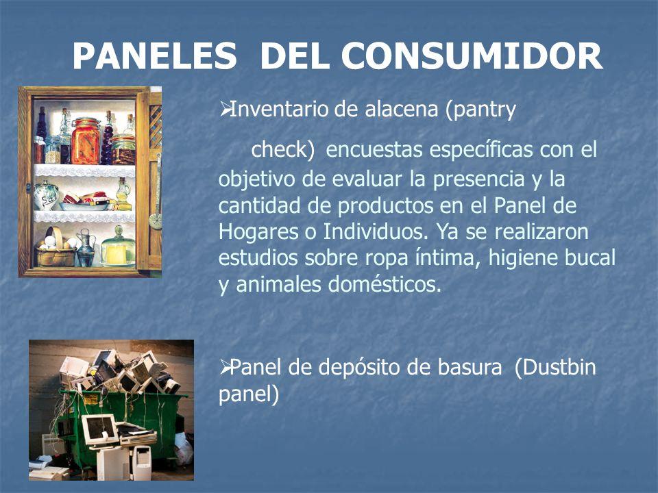 PANELES DEL CONSUMIDOR Inventario de alacena (pantry check) encuestas específicas con el objetivo de evaluar la presencia y la cantidad de productos e