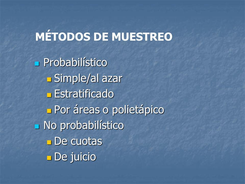 MÉTODOS DE MUESTREO Probabilístico Probabilístico Simple/al azar Simple/al azar Estratificado Estratificado Por áreas o polietápico Por áreas o poliet