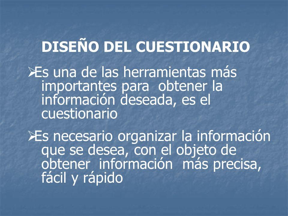 Es una de las herramientas más importantes para obtener la información deseada, es el cuestionario Es necesario organizar la información que se desea,