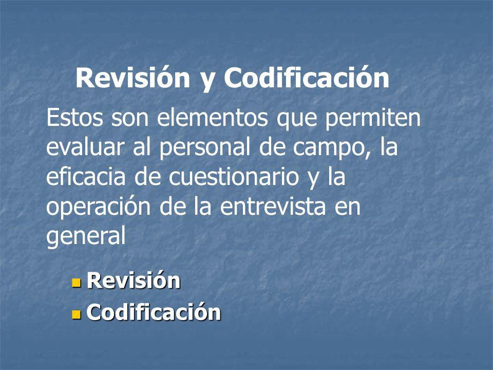 Revisión y Codificación Revisión Revisión Codificación Codificación Estos son elementos que permiten evaluar al personal de campo, la eficacia de cues