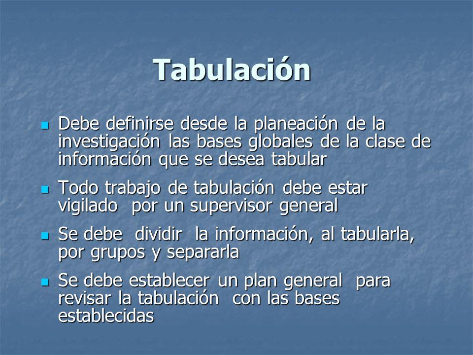 Tabulación Debe definirse desde la planeación de la investigación las bases globales de la clase de información que se desea tabular Debe definirse de