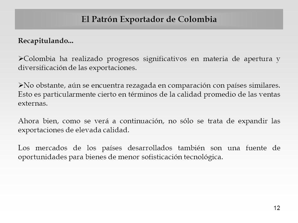 12 El Patrón Exportador de Colombia Recapitulando... Colombia ha realizado progresos significativos en materia de apertura y diversificación de las ex