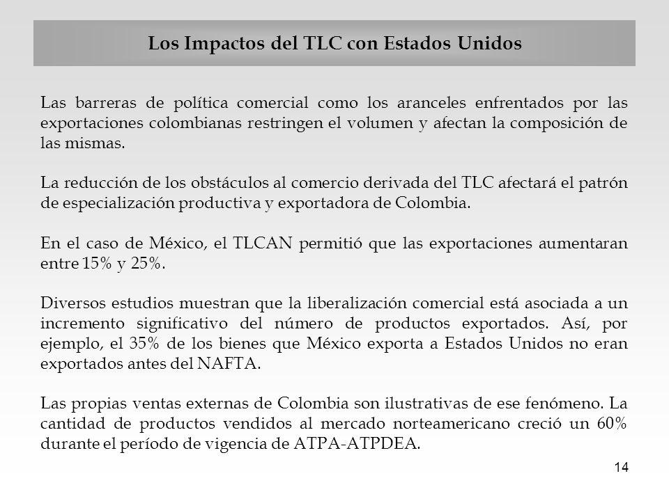 14 Los Impactos del TLC con Estados Unidos Las barreras de política comercial como los aranceles enfrentados por las exportaciones colombianas restrin