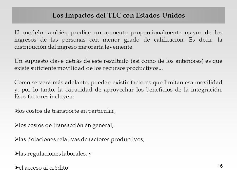 16 Los Impactos del TLC con Estados Unidos El modelo también predice un aumento proporcionalmente mayor de los ingresos de las personas con menor grad