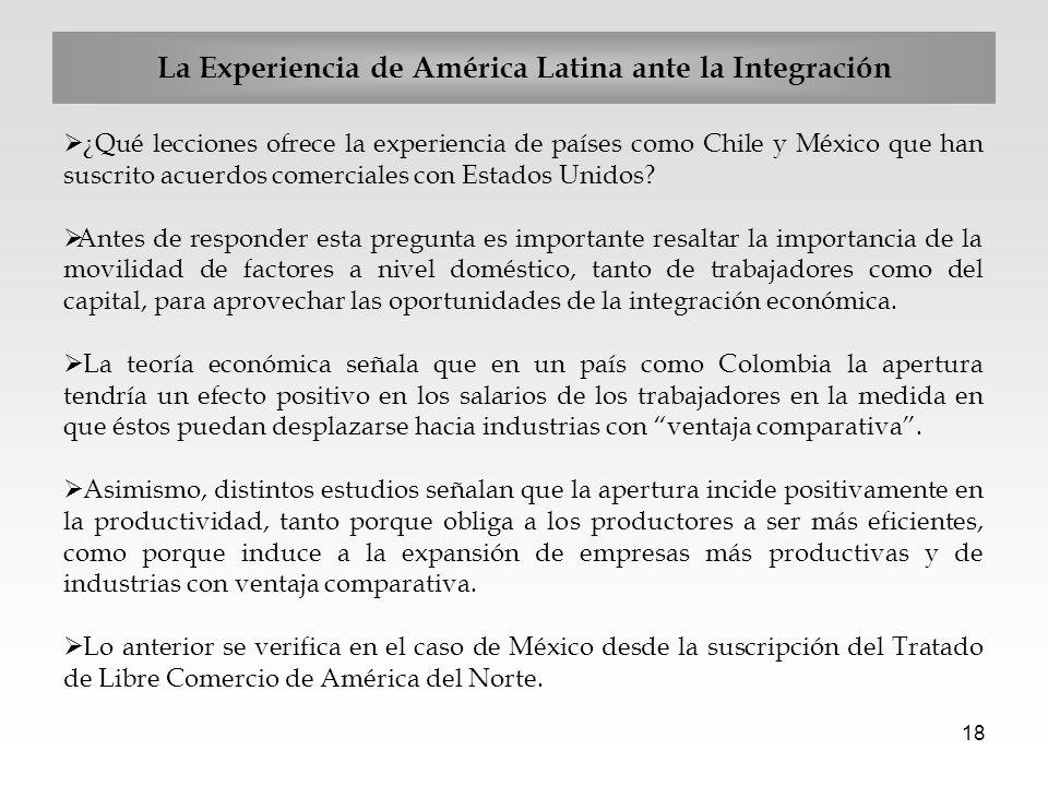 18 La Experiencia de América Latina ante la Integración ¿Qué lecciones ofrece la experiencia de países como Chile y México que han suscrito acuerdos c