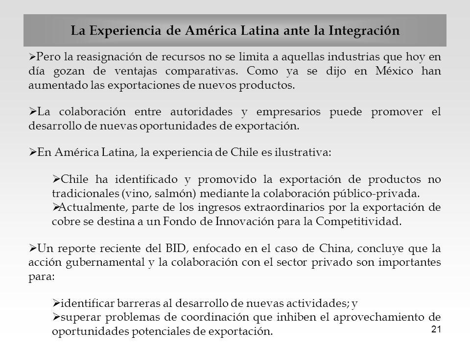 21 Pero la reasignación de recursos no se limita a aquellas industrias que hoy en día gozan de ventajas comparativas. Como ya se dijo en México han au