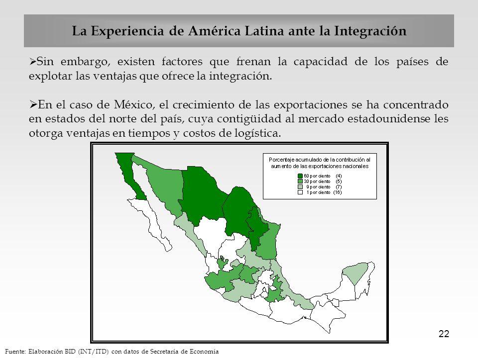 22 Sin embargo, existen factores que frenan la capacidad de los países de explotar las ventajas que ofrece la integración. En el caso de México, el cr