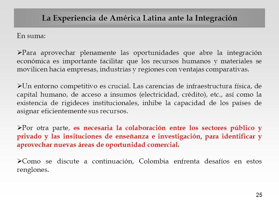 25 En suma: Para aprovechar plenamente las oportunidades que abre la integración económica es importante facilitar que los recursos humanos y material