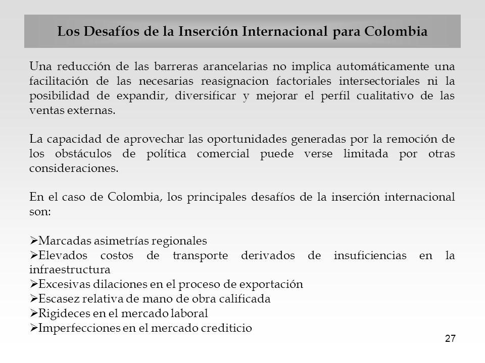 27 Los Desafíos de la Inserción Internacional para Colombia Una reducción de las barreras arancelarias no implica automáticamente una facilitación de