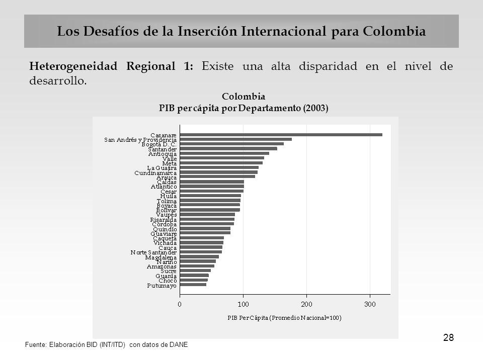 28 Los Desafíos de la Inserción Internacional para Colombia Heterogeneidad Regional 1: Existe una alta disparidad en el nivel de desarrollo. Colombia