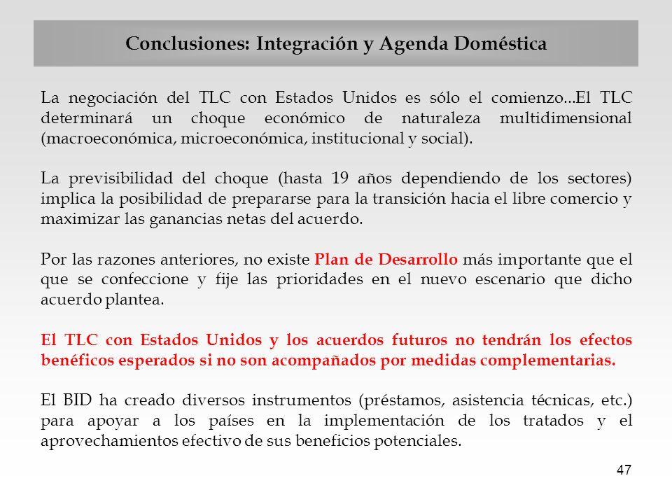 47 Conclusiones: Integración y Agenda Doméstica La negociación del TLC con Estados Unidos es sólo el comienzo...El TLC determinará un choque económico