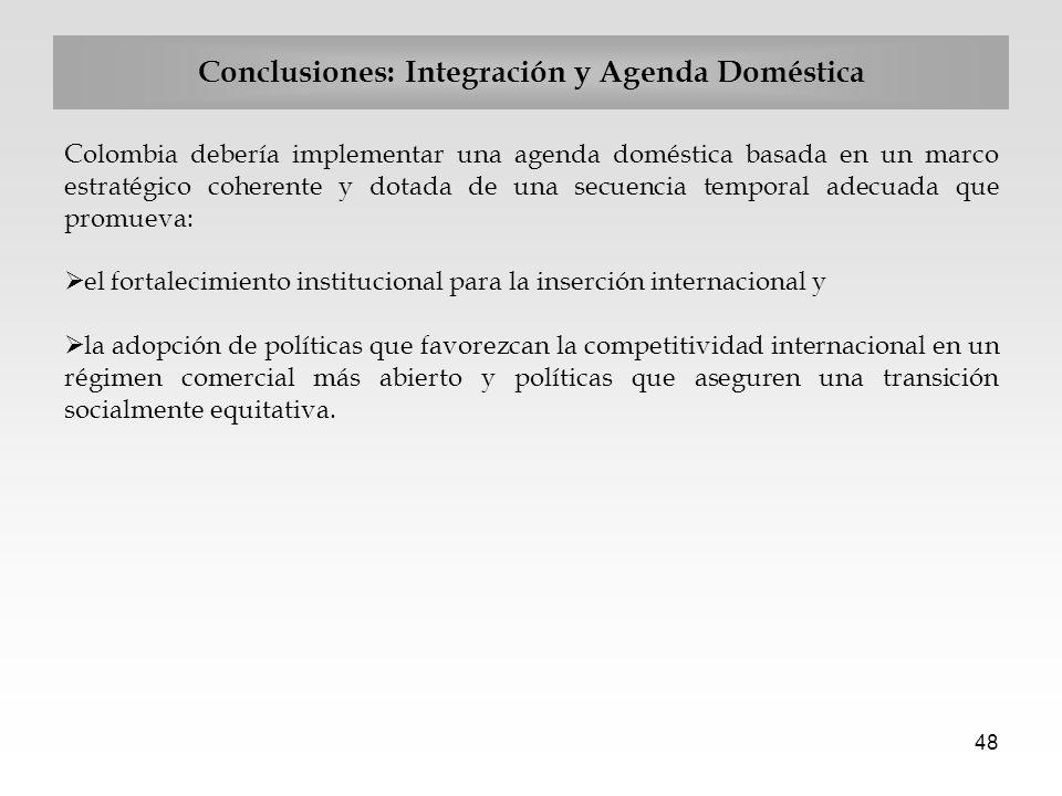 48 Conclusiones: Integración y Agenda Doméstica Colombia debería implementar una agenda doméstica basada en un marco estratégico coherente y dotada de