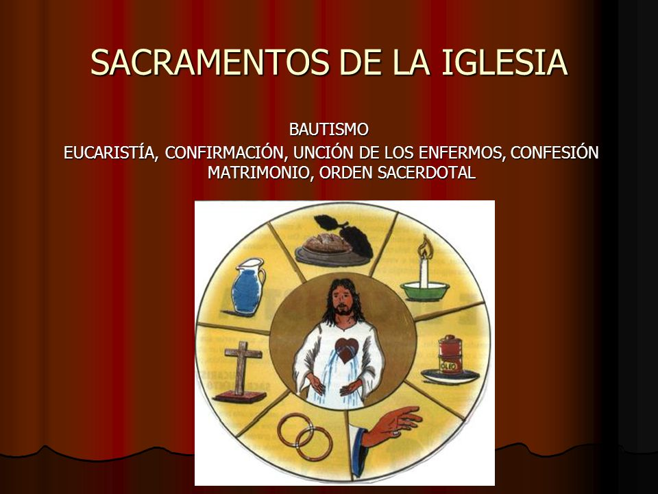 SACRAMENTOS DE LA IGLESIA BAUTISMO EUCARISTÍA, CONFIRMACIÓN, UNCIÓN DE LOS ENFERMOS, CONFESIÓN MATRIMONIO, ORDEN SACERDOTAL EUCARISTÍA, CONFIRMACIÓN,