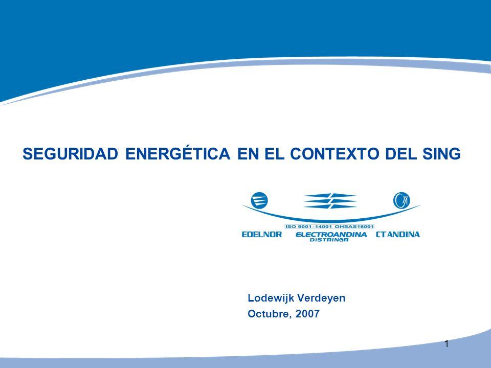 1 SEGURIDAD ENERGÉTICA EN EL CONTEXTO DEL SING Lodewijk Verdeyen Octubre, 2007