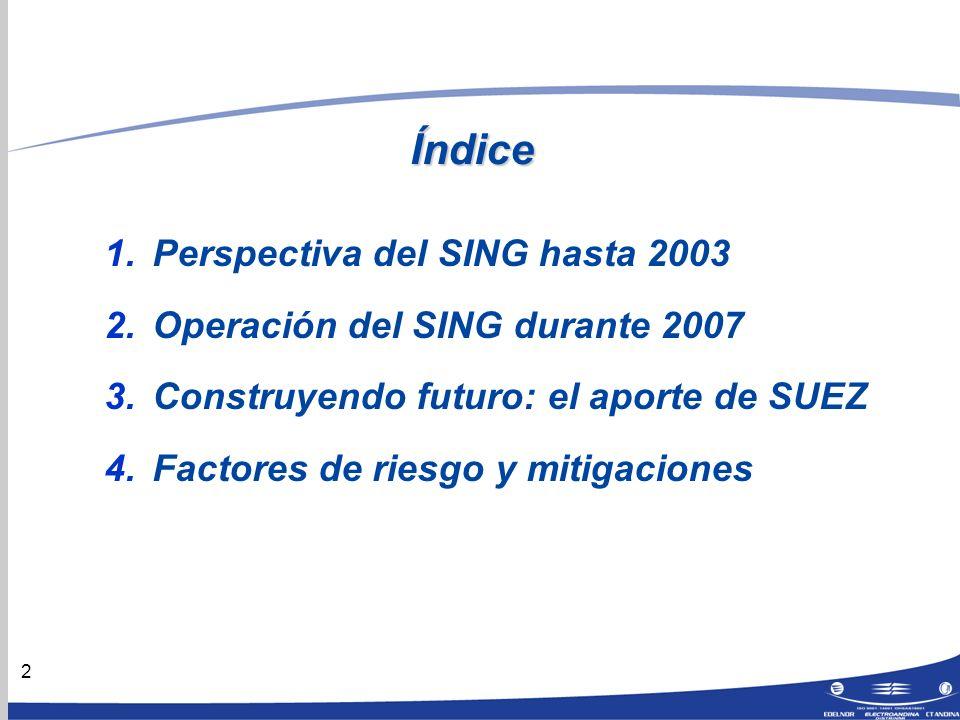 2 Índice 1.Perspectiva del SING hasta 2003 2.Operación del SING durante 2007 3.Construyendo futuro: el aporte de SUEZ 4.Factores de riesgo y mitigaciones