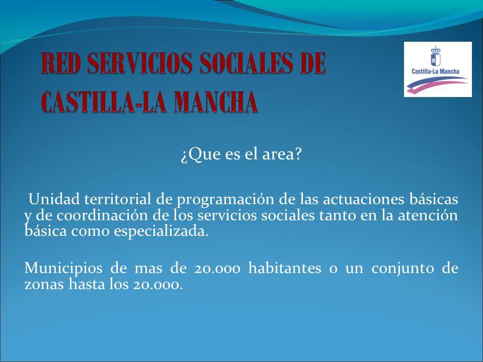¿Que es el area? Unidad territorial de programación de las actuaciones básicas y de coordinación de los servicios sociales tanto en la atención básica