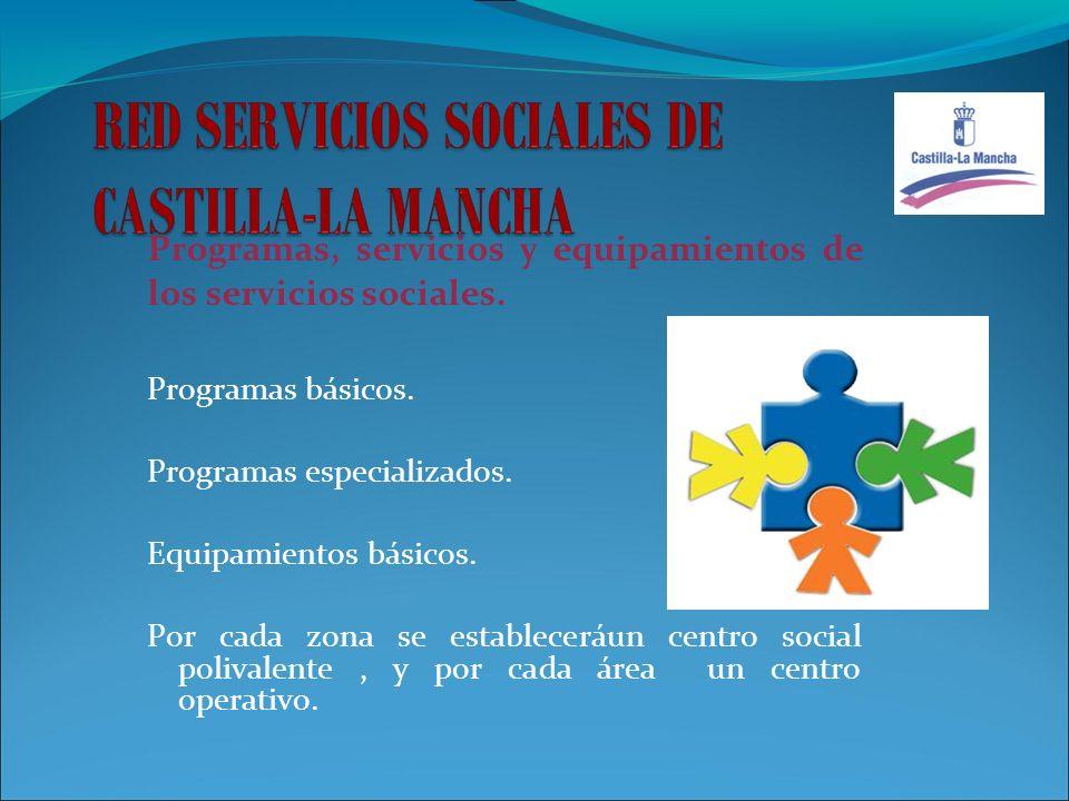 Programas, servicios y equipamientos de los servicios sociales. Programas básicos. Programas especializados. Equipamientos básicos. Por cada zona se e