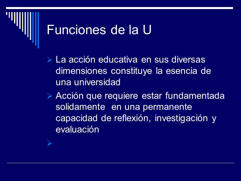Funciones de la U La acción educativa en sus diversas dimensiones constituye la esencia de una universidad Acción que requiere estar fundamentada soli