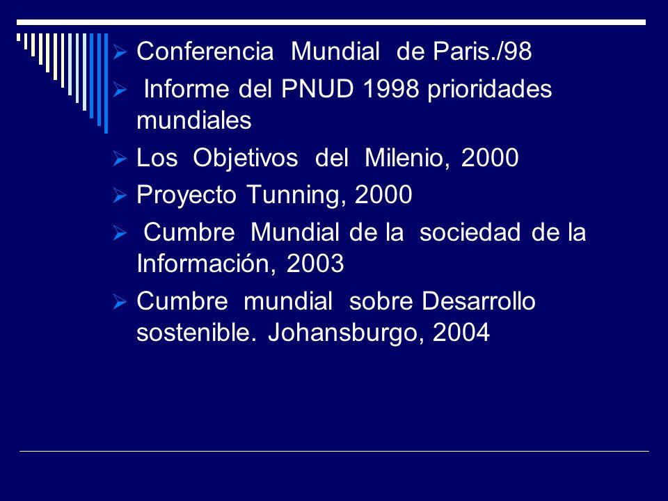 Conferencia Mundial de Paris./98 Informe del PNUD 1998 prioridades mundiales Los Objetivos del Milenio, 2000 Proyecto Tunning, 2000 Cumbre Mundial de