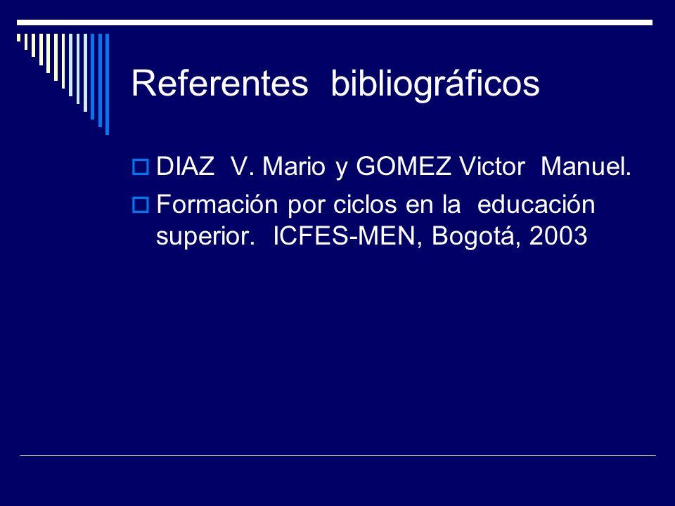 Referentes bibliográficos DIAZ V. Mario y GOMEZ Victor Manuel. Formación por ciclos en la educación superior. ICFES-MEN, Bogotá, 2003