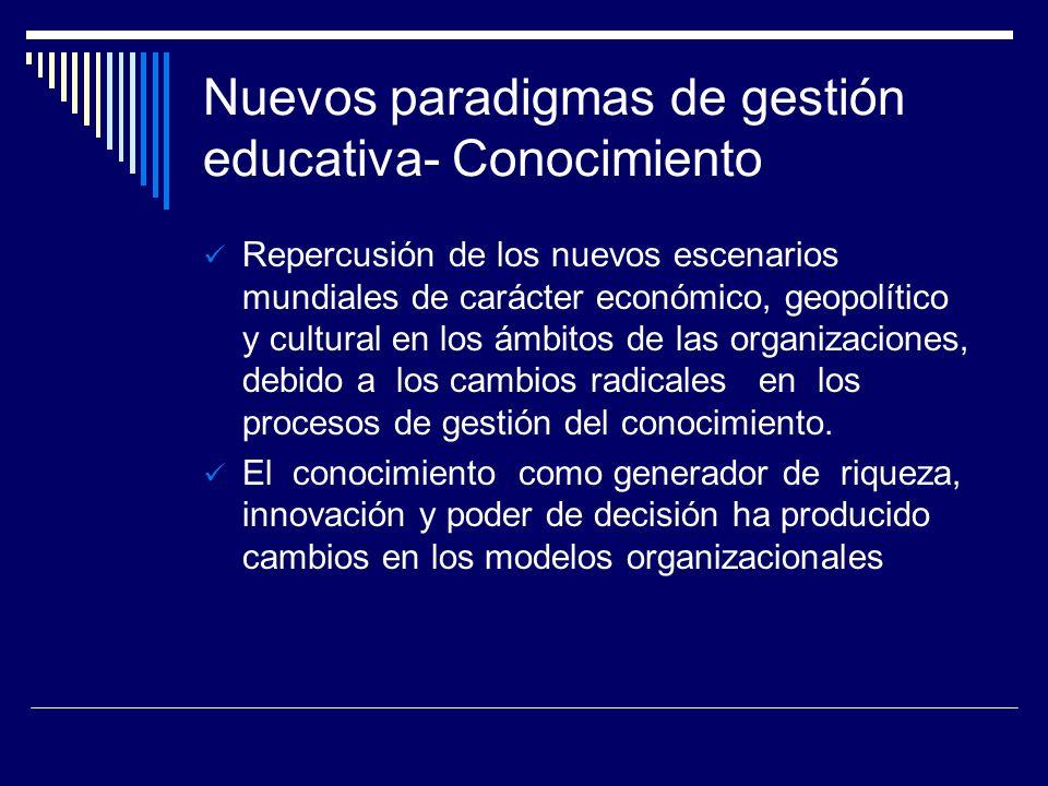 Nuevos paradigmas de gestión educativa- Conocimiento Repercusión de los nuevos escenarios mundiales de carácter económico, geopolítico y cultural en l