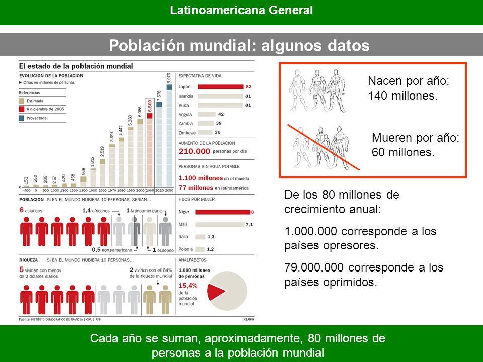 Población mundial: algunos datos Latinoamericana General Cada año se suman, aproximadamente, 80 millones de personas a la población mundial Nacen por