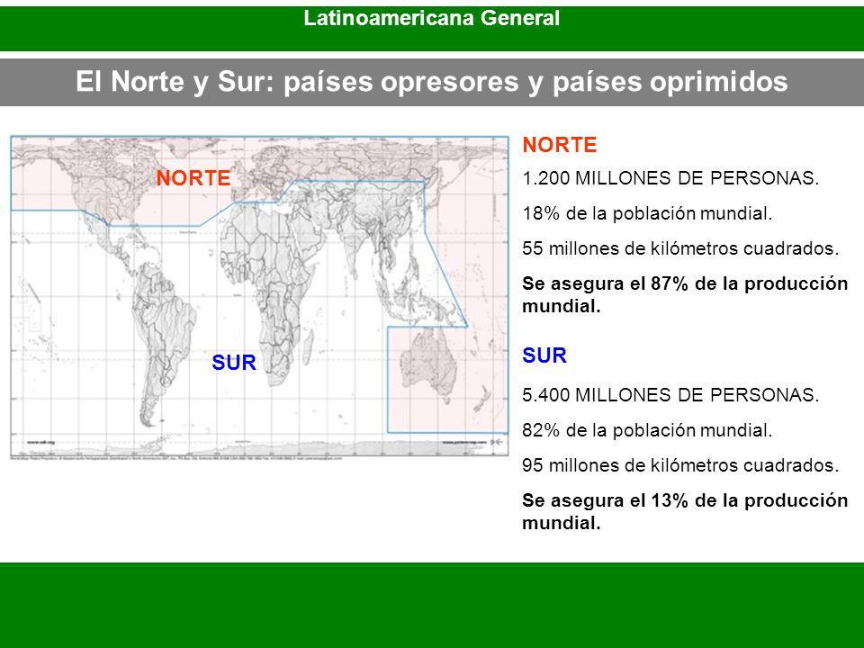 El Norte y Sur: países opresores y países oprimidos Latinoamericana General NORTE SUR NORTE SUR 1.200 MILLONES DE PERSONAS. 18% de la población mundia