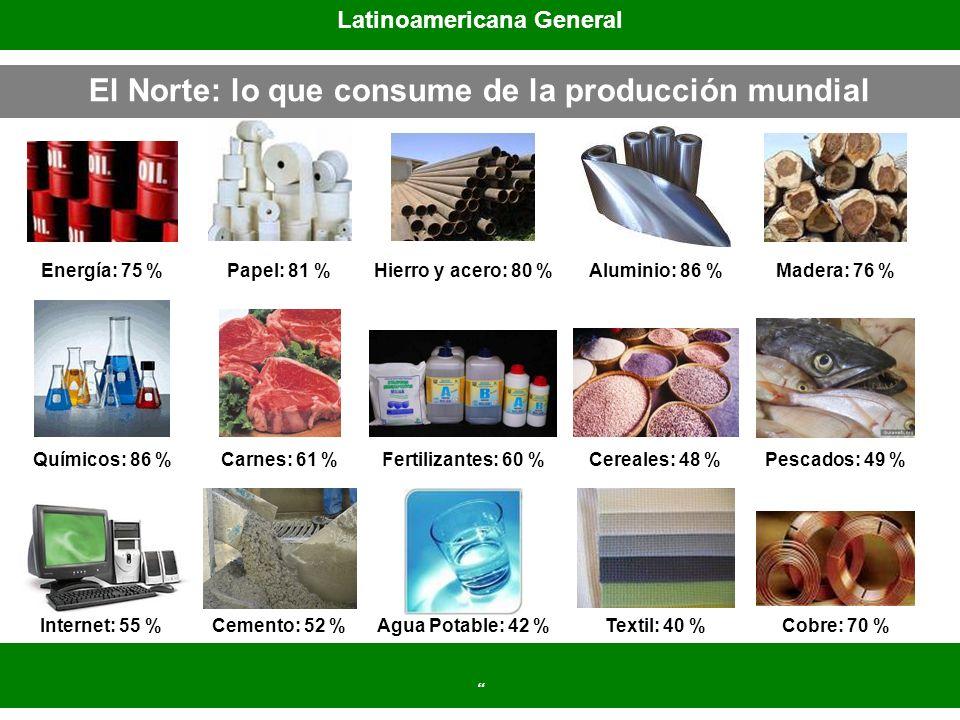 El Norte: lo que consume de la producción mundial Latinoamericana General Energía: 75 %Papel: 81 %Hierro y acero: 80 %Aluminio: 86 %Madera: 76 % Quími